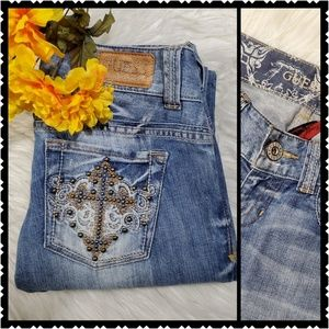 🔥Guess 28 bootcut distressed stretch jeans